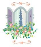 Fönster med blommakortet - retro design Arkivbild