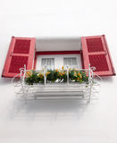 Fönster med blommakrukar Royaltyfri Foto