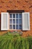 Fönster med blommakrukar Arkivbild