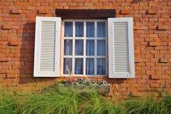 Fönster med blommakrukar Arkivbilder
