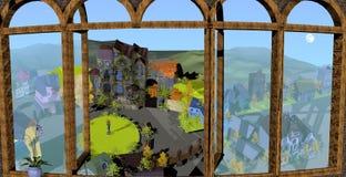 Fönster med landskap och gamla hus Arkivbilder