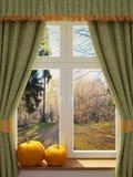 Fönster med pumpor en härlig sikt Arkivfoto
