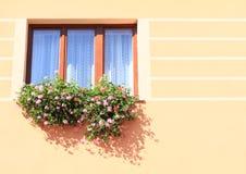 Fönster med röda blommor Arkivbilder