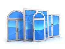 Fönster med reflexioner av himlen Arkivbild