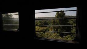 Fönster med stänger av ett enskilt tåg stock video