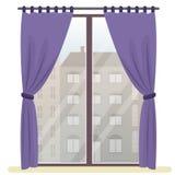 Fönster med stadssikt Plan illustration för vektor royaltyfri illustrationer