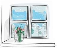 Fönster med vasen royaltyfria bilder