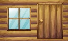 Fönster och dörr av ett trärum stock illustrationer