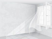 Fönster och gardiner i ljus inre Arkivbild