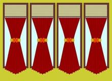 Fönster- och gardinvektorillustration stock illustrationer