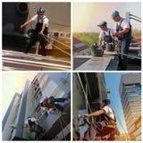 Fönster och rengörande - rengörande service för exponeringsglas - collage för fasad royaltyfri bild