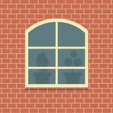Fönster på bakgrund för tegelstenvägg Arkivbilder