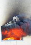 Fönster på brand Arkivfoton
