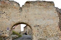 Fönster Rupea - Reps, medeltida spår för fästning Transylvania Rumänien Royaltyfri Foto