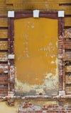 Fönster som stängs med tegelstenar Royaltyfri Fotografi