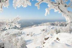 Fönster till vintern Arkivfoton