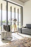 Fönster walled vardagsrum arkivfoto