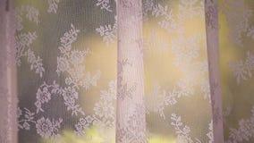 Fönstergardin som är rörd vid mjuk vind arkivfilmer