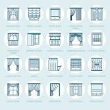 Fönstergardiner, skuggalinje symboler Görande mörkare garnering för olikt rum, lambrequin, bylte, fransk gardin, rullgardiner och stock illustrationer