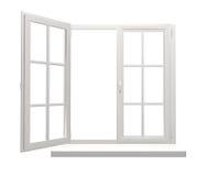 Fönsterram med en öppen och en stängd klaff stock illustrationer