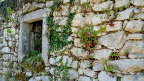 Fönsterram och vägg av det förstörda huset, gamla Perithia, Korfu Arkivfoton