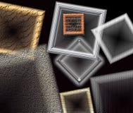 Fönsterramar och geometriska former som svävar mot en svart bakgrund Fotografering för Bildbyråer