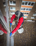 Fönsterrengöringsmedel som hänger på rep Arkivbilder