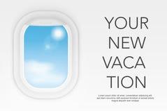 Fönstersikt från flygplanet Realistiskt fönster för flyg Begrepp för illustration för loppturvektor stock illustrationer