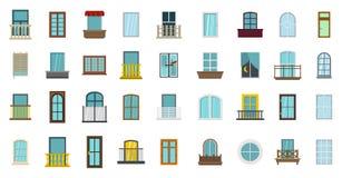 Fönstersymbolsuppsättning, lägenhetstil vektor illustrationer