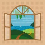 Fönsteryttersidasikt vektor illustrationer