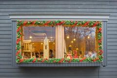 Fönstret av shoppar jul utformar i Harunireชen Royaltyfri Fotografi