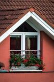 Fönstret dekorerade vid naturliga blommor i liten by Royaltyfri Bild