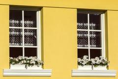 Fönstret dekorerade vid naturliga blommor i liten by Arkivbilder