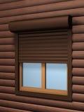 Fönstret med rullen stänger med fönsterluckor Arkivfoto