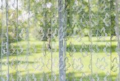 Fönstret med snör åt gardiner arkivfoto