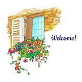 Fönstret och blommor boxas det välkomna kortet, knapphändig design också vektor för coreldrawillustration Arkivbilder