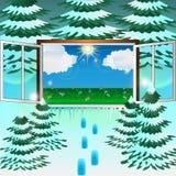 Fönstret på våren stock illustrationer