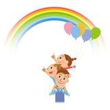 Förälder och barn som ser upp på regnbågen Arkivbild