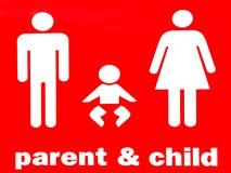 Förälder- och barntecken arkivbild