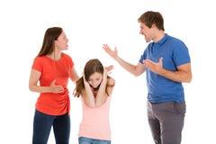 Förälder som grälar på vit bakgrund Royaltyfri Bild