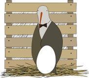 Förälderfågel med ägget vektor illustrationer
