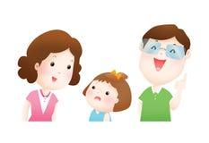 Föräldrar förklarar till deras dotterillustration Royaltyfri Fotografi