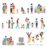Föräldrar med ungar Arkivfoton