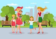 Föräldrar med ungar möter går på den plana illustrationen stock illustrationer