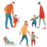 Föräldrar och barn som går i vintern Royaltyfri Fotografi
