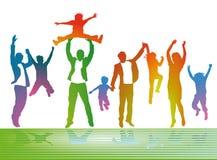Föräldrar och barn som har gyckel Fotografering för Bildbyråer
