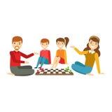 Föräldrar och ungar som tillsammans spelar schack, lycklig familj som har den bra Tid illustrationen Royaltyfri Fotografi