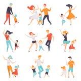 Föräldrar som dansar med deras barn uppsättning, ungar som har bra tid med deras farsor och mammavektorillustrationer på en vit royaltyfri illustrationer