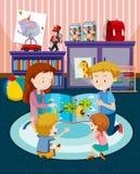 Föräldrar som läser barn en bok royaltyfri illustrationer