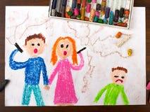 Föräldrar som röker en cigarett och ett ledset barn royaltyfri illustrationer